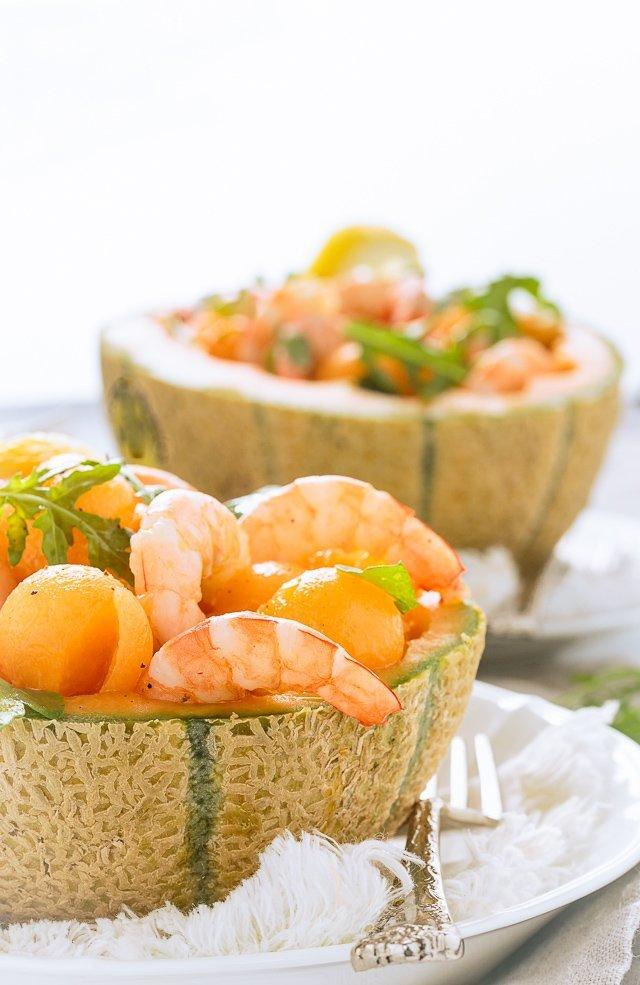 melone gamberi e rughetta