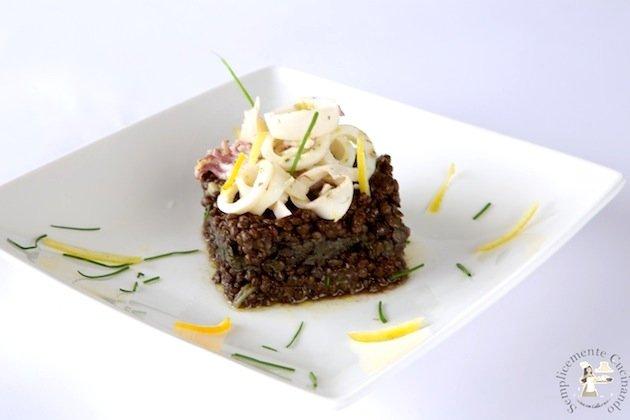 lenticchie e calamari in salsa di agrumi