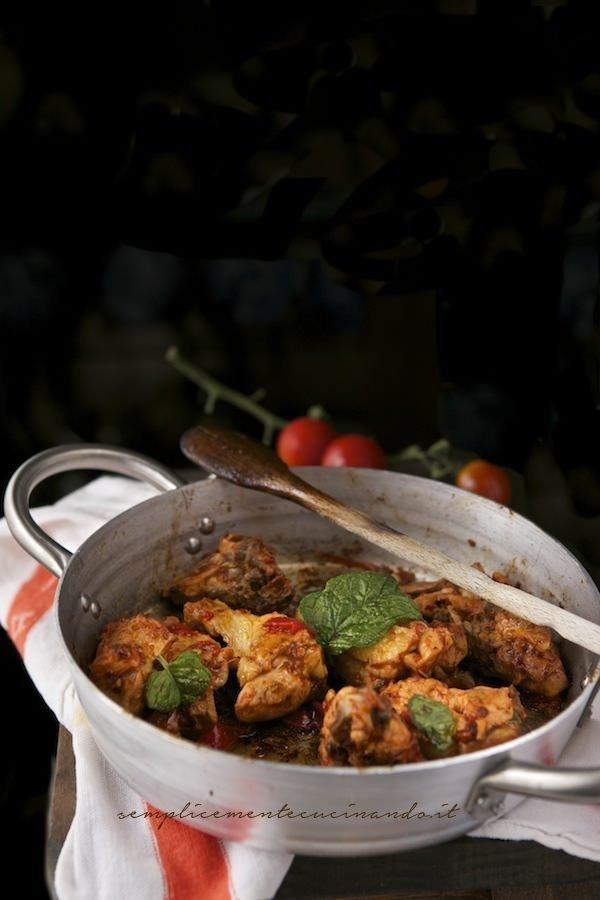 pollo in padella coi peperoni
