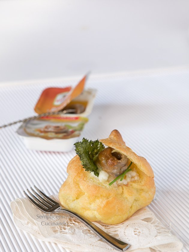 bignè crema di baccala alici in salsa piccante Rizzoli