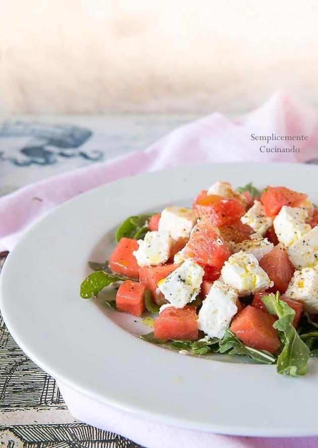 insalata di anguria e feta greca