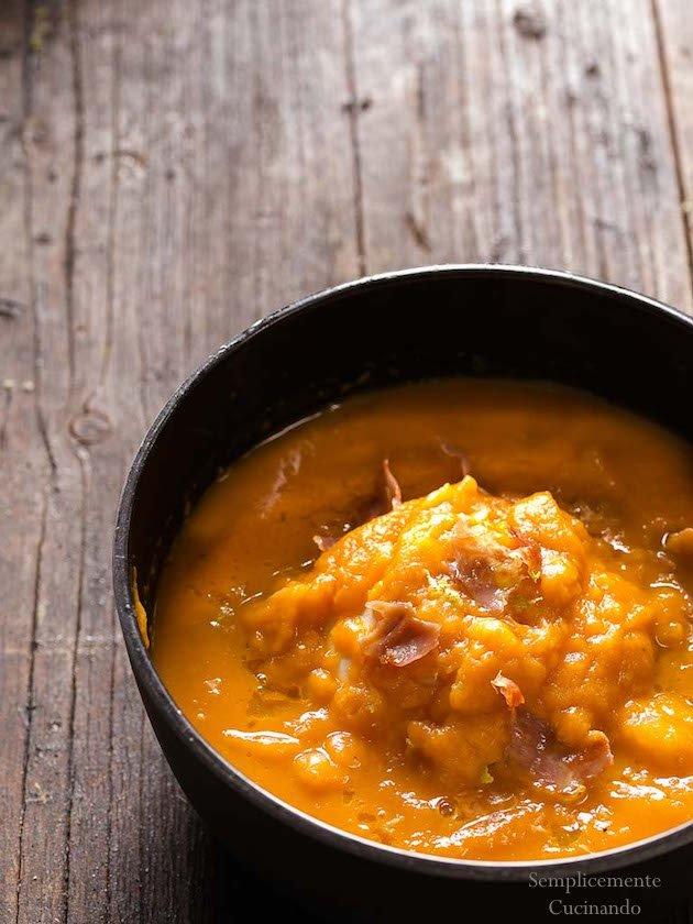 Crema di zucca e topinambur, bacon e lime