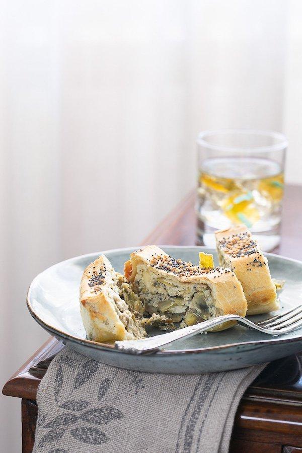 strudel di carciofi e formaggio di fossa